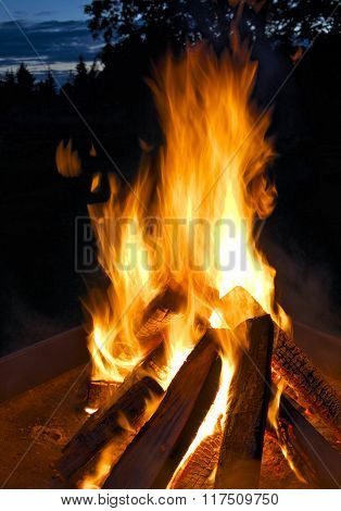 Bonfire In Homeyard.