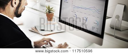 Businessman Working Analyzing Information Concept