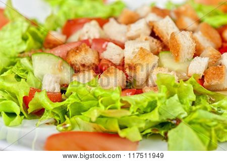 Vegetable salad with tomato, lettuce, cucumbers and crackers