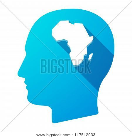 Long Shadow Male Head Icon With  A Map Of The African Continent