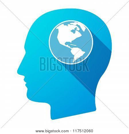 Long Shadow Male Head Icon With An America Region World Globe