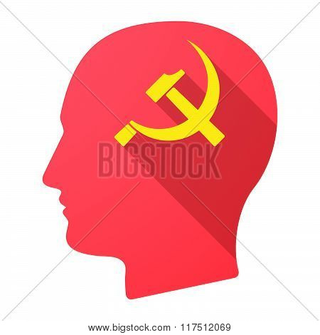 Long Shadow Male Head Icon With  The Communist Symbol