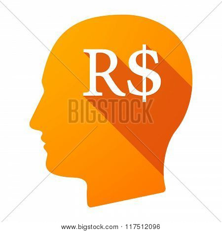 Long Shadow Male Head Icon With A Brazillian Real Currency Sign