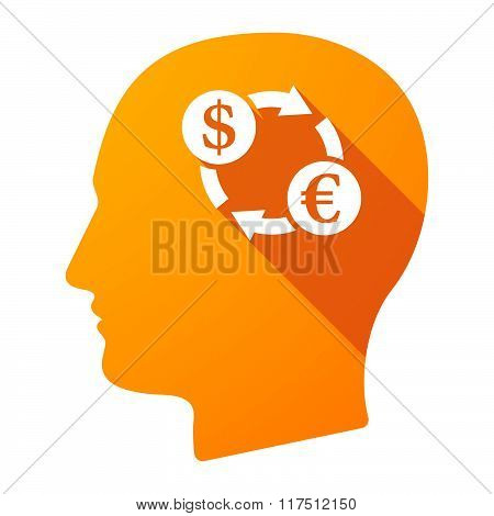 Long Shadow Male Head Icon With A Dollar Euro Exchange Sign