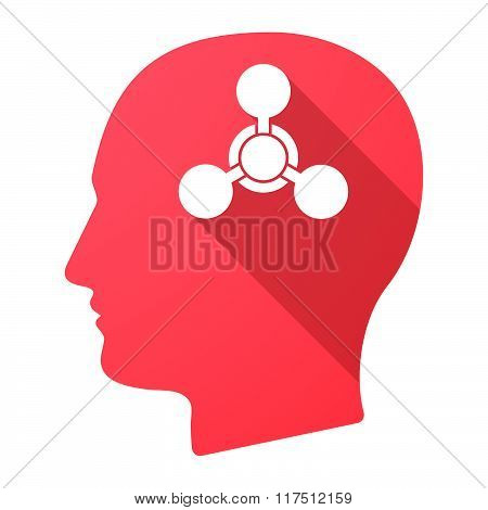 Long Shadow Male Head Icon With A Chemical Weapon Sign