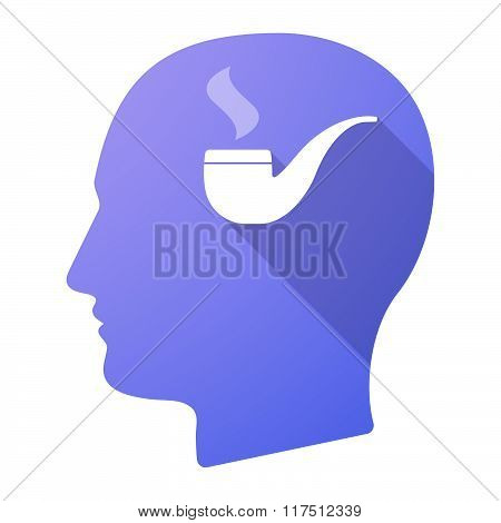 Long Shadow Male Head Icon With A Smoking Pipe