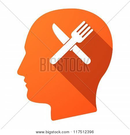 Long Shadow Male Head Icon With A Knife And A Fork