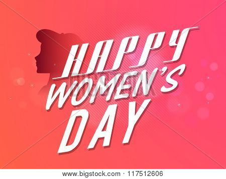 Stylish text Happy Women's Day with face of a young girl, can be used as poster, banner or flyer design.