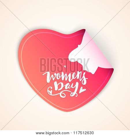Creative sticker, tag or label design in shape of glossy pink heart for Happy Women's Day celebration.