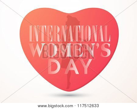 Creative heart with illustration of a young girl for International Women's Day celebration.