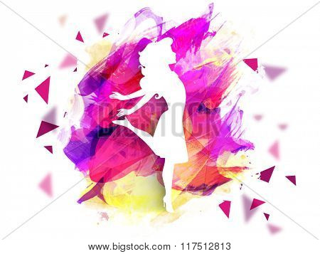 Creative illustration of a young girl in stylish pose on colorful paint strokes background for Happy Women's Day celebration.