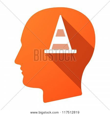 Long Shadow Male Head Icon With A Road Cone