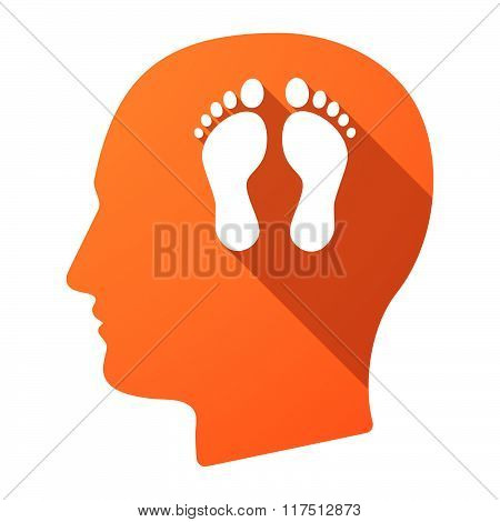Long Shadow Male Head Icon With Two Footprints