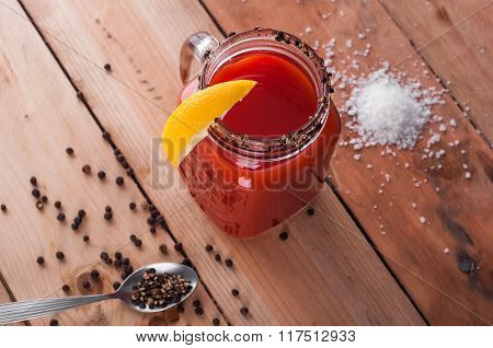 Bloody Mary Cocktail On Wooden Table