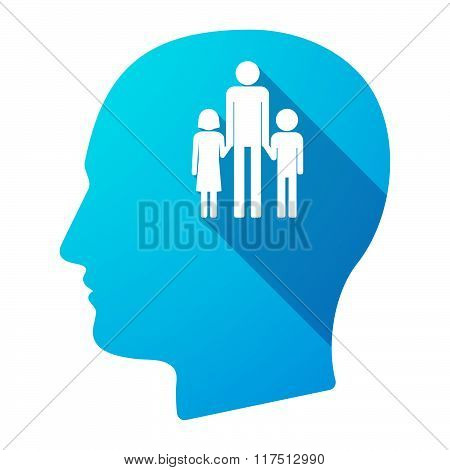 Long Shadow Male Head Icon With A Male Single Parent Family Pictogram
