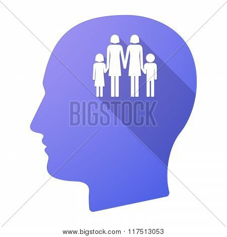 Long Shadow Male Head Icon With A Lesbian Parents Family Pictogram