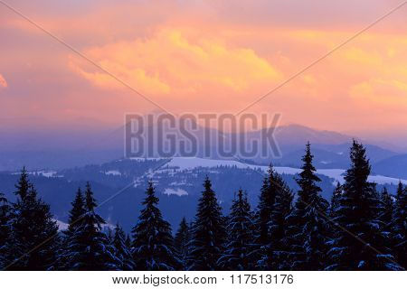 nice sunset scene in West Tatra mountains, Slovakia