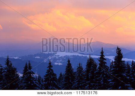 nice sunset scene in West Tatra mountains, Slovakia