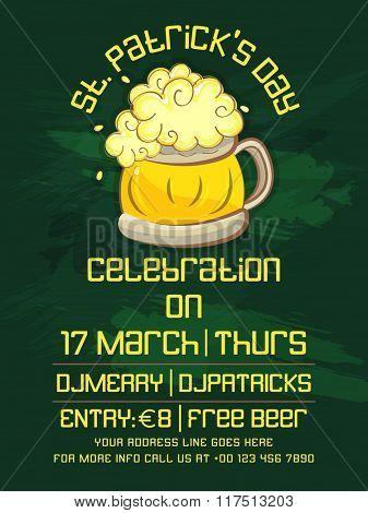 Creative Pamphlet, Banner or Flyer design with beer mug for St. Patrick's Day Party celebration.