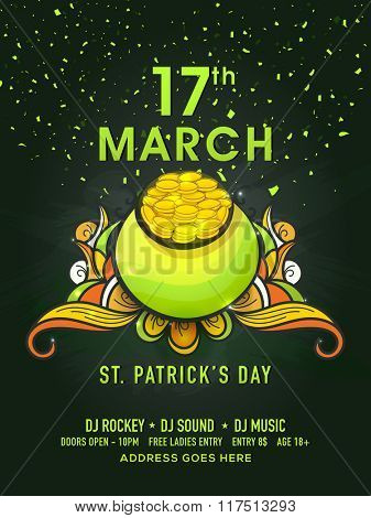 St. Patrick's Day celebration Pamphlet, Banner or Flyer design with glossy pot full of gold coins on floral decorated background.