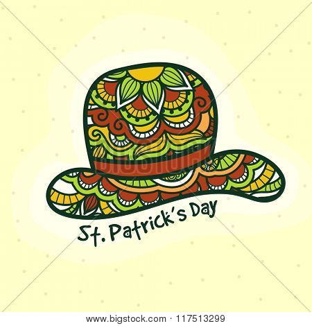 Beautiful creative floral design decorated Hat for Happy St. Patrick's Day celebration.