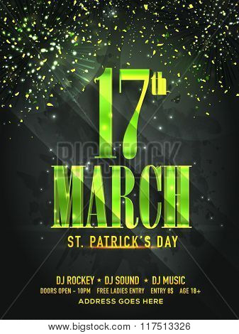 Glossy green text 17th March on stylish background, can be used as Pamphlet, Banner or Flyer design for St. Patrick's Day celebration.