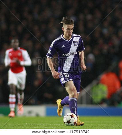 LONDON, ENGLAND - NOV 04 2014: Maxime Colin of Anderlecht during the UEFA Champions League match between Arsenal from England and Anderlecht from Belgium played at The Emirates Stadium.