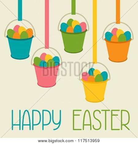 Happy Easter greeting card with decorative buckets. Concept can be used for holiday invitations and
