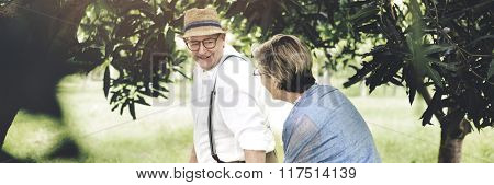 Senior Adult Couple Love Romance Nature Park Concept