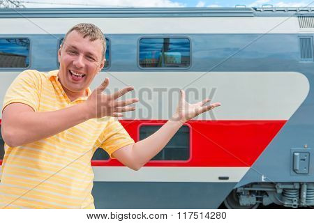 Emotional Man Showing On The Double-decker Train