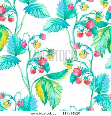 Strawberry pattern. Watercolor. Berries.