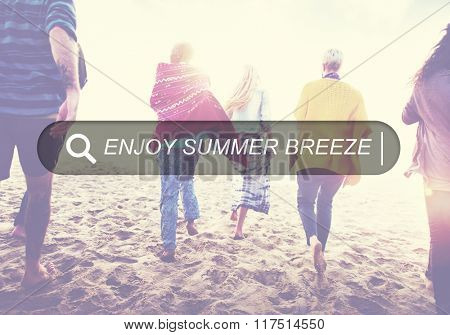 Enjoy Beach Summer Happiness Searching Box Concept