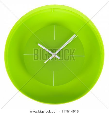 Simple classic white and green round wall clock isolated on white