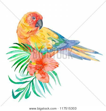 Tropical birds isolated on white background. Palm leaves and tropical flower. Parrot.