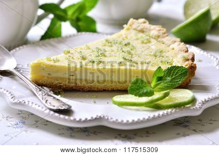 Lime Cheesecake With Mint Sugar.