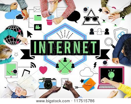 Digital Internet Media Technology Worldwide Concept