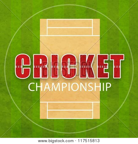 Cricket Championship concept with view of pitch on green background.