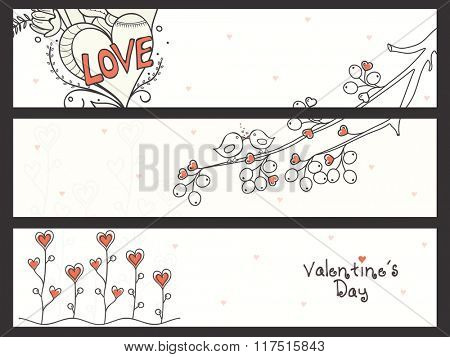 Creative website header or banner set decorated with illustration of heart and love birds for Valentine's Day celebration.