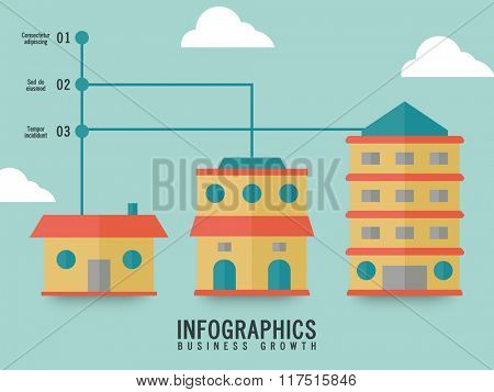 Creative Business Infographic layout with colorful house showing success, growth and profit.
