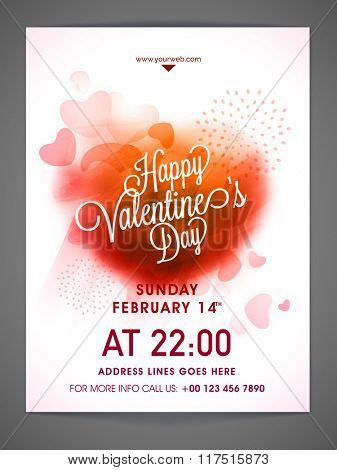 Glossy hearts decorated Pamphlet, Banner or Flyer design for Valentine's Day Party celebration.