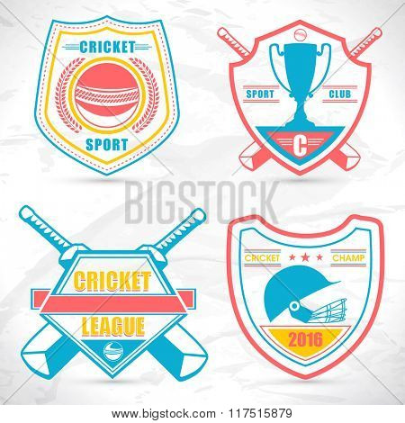 Set of creative sticker, tag or label design on grey background for Cricket Sports concept.