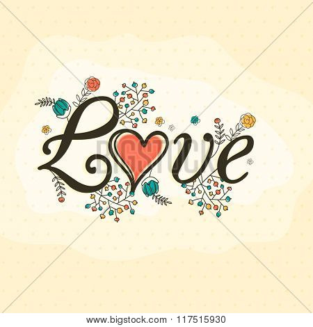 Stylish text Love on colorful floral design decorated background for Happy Valentine's Day celebration.