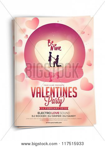 Beautiful Invitation Card design with illustration of cute couple in love on glossy hearts decorated background for Valentine's Day Party celebration.