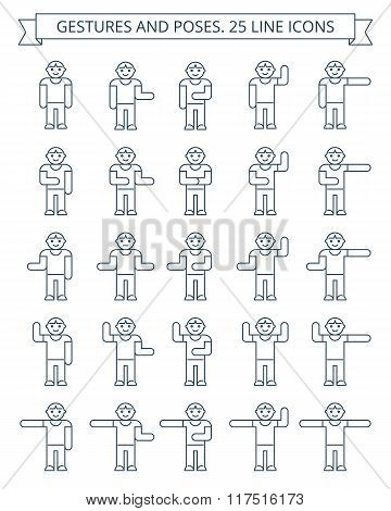 Gestures And Poses Line Icons