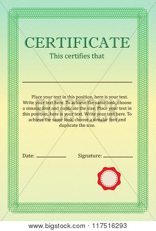 Certificate or Diploma of completion design template with border. Vector illustration of Certificate
