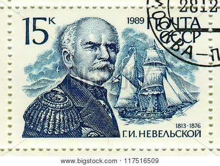 GOMEL,BELARUS - FEBRUARY 2016:A stamp printed in USSR shows image of the Gennady Ivanovich Nevelskoy was a Russian navigator, circa 1989.