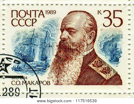 GOMEL,BELARUS - FEBRUARY 2016:A stamp printed in USSR shows image of the Stepan Osipovich Makarov was a Russian vice-admiral, decorated commander of the Imperial Russian Navy, circa 19  .