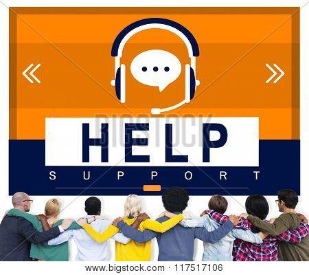 HElp Hellpline Helping Hand Headphones Advice Concept