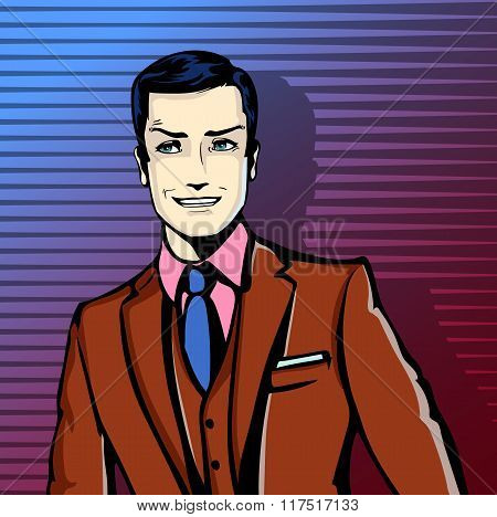 Vector illustration of successful businessman smiling, smirking in pop art comics retro style or car