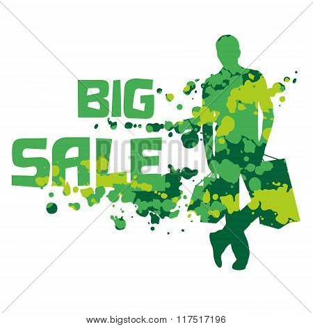Abstract Silhouette Of The Shopping Man With The Text Big Sale.